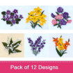Flowers of the Month embroidery design pack