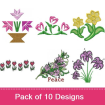 Flowers 6 embroidery design pack