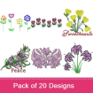 Flowers 4 embroidery design pack