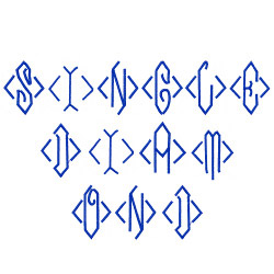 Single Diamond Monogram embroidery font