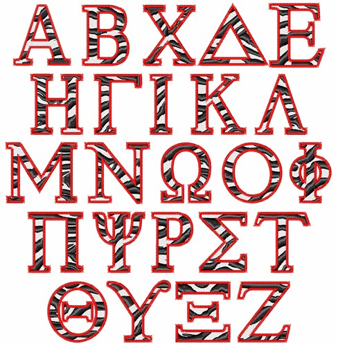 Styles embroidery font zebra greek from patterns