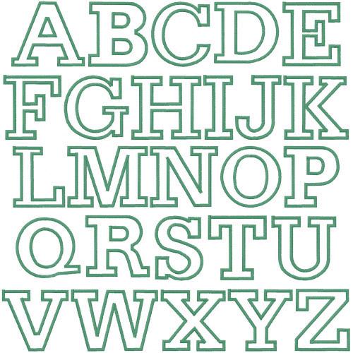 Block Letter Outline Font Outline block embroidery font