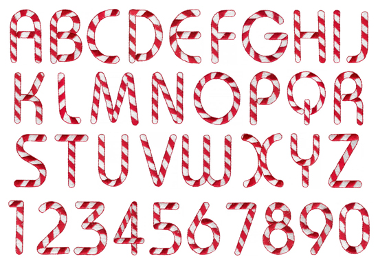 Home Format Fonts Embroidery Font: Candy Cane from Grand Slam Designs