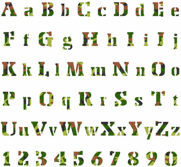 Camouflage Font Embroidery Font