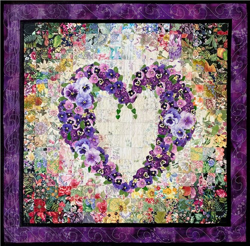 With All My Heart Watercolor Quilt Kit Quilting