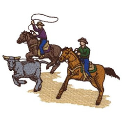 Team Roping embroidery design