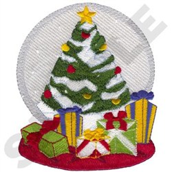 Christmas Tree Snow Globe embroidery design