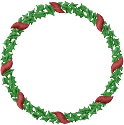 Holly Wreath embroidery design