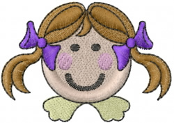 Stick Figure Girls Head embroidery design