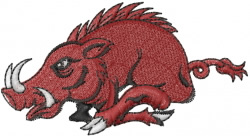 Red Razorback Hog embroidery design