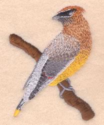 Cedar Waxwing embroidery design