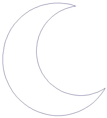 Outlines Embroidery Design: Crescent Moon from Adorable Ideas