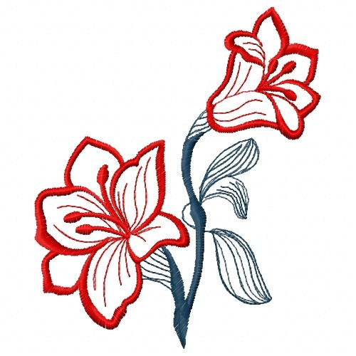 OutlinesATG Freedesigns Embroidery Design Red Flower