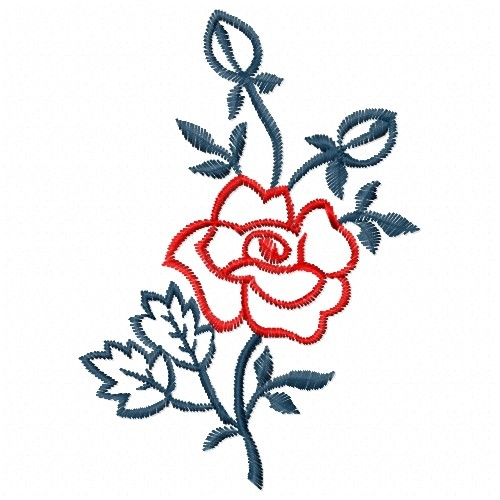 Outlines atg freedesigns embroidery design red rose