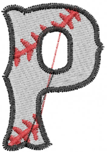 Sports Embroidery Design: Baseball Letter P from Embroidery Patterns