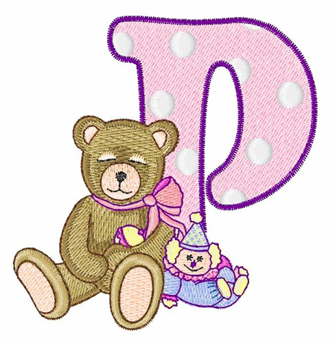 P Alphabet Design Teddy Alphabet P embroidery