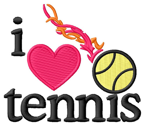 Sports Embroidery Design I Love Tennis Ball From Grand