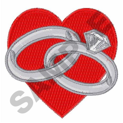 Shapes embroidery design wedding rings and heart from