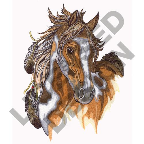Heads embroidery design feathered horse from great notions