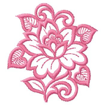 Outlines Embroidery Design Pink Flower Outline From Gunold