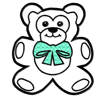 ... Embroidery Design: Teddy Bear with Bow Outline from King Graphics