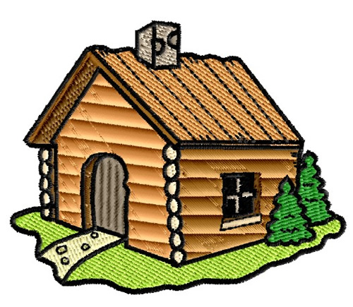 Trees embroidery design log cabin from king graphics