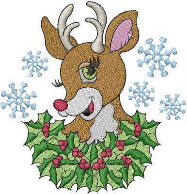 Winter Embroidery Design Christmas Reindeer From Machine Embroidery Designs