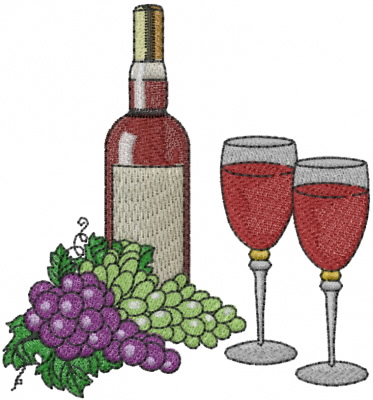 Free Wine Glass Machine Embroidery Design