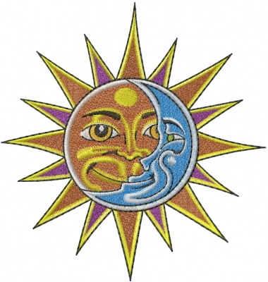 Heads Embroidery Design: Sun And Moon Faces from Machine