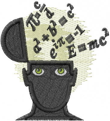 Heads Embroidery Design Math Brain From Machine