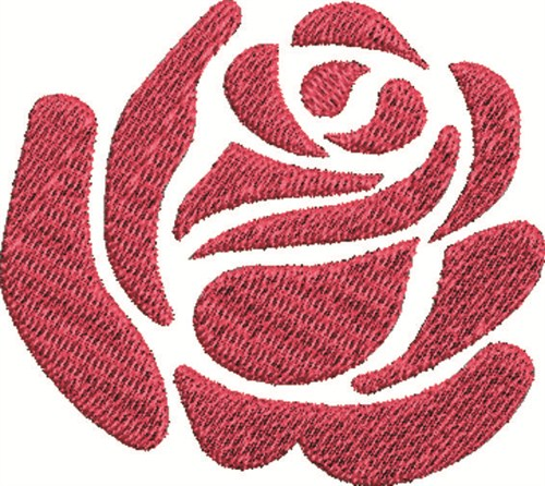 Floral embroidery design rose bloom from satin stitch