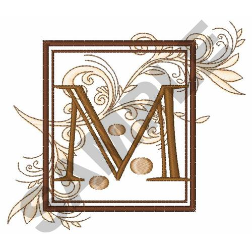 embellishments embroidery design fancy square letter m