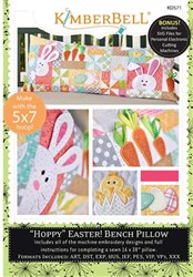 Hoppy Easter Bench Pillow Machine Embroidery Designs CD