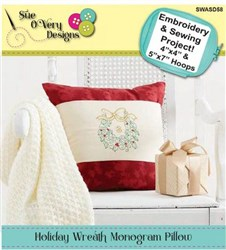 Holiday Wreath Monogram Pillow Designs CD