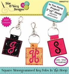 Square Monogrammed Key Fobs In The Hoop Embroidery Designs CD