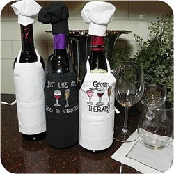 Wine Bottle Apron w/Chef Hat