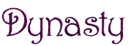 Dynasty embroidery font