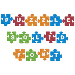 Puzzle Piece Solid Font Embroidery Font