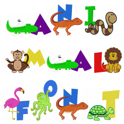 Animal Font embroidery font