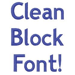 Clean Block embroidery font