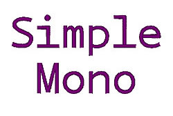 Simple Mono embroidery font