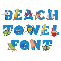 Beach towel font embroidery font annthegran for Beach house embroidery design