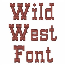 WILD WEST FONT embroidery font