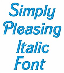 Simply Pleasing Italic Font embroidery font