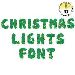 Christmas Lights Font 1in embroidery font
