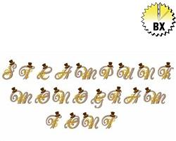 Steampunk Monogram Font 1.25in embroidery font