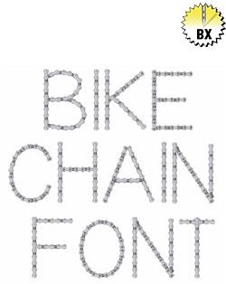 Bike Chain Font 1.5in embroidery font