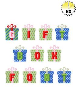 Gift Box Font 1in embroidery font