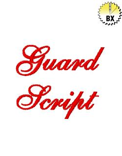Guard Script 1in embroidery font