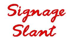 Signage Slant embroidery font